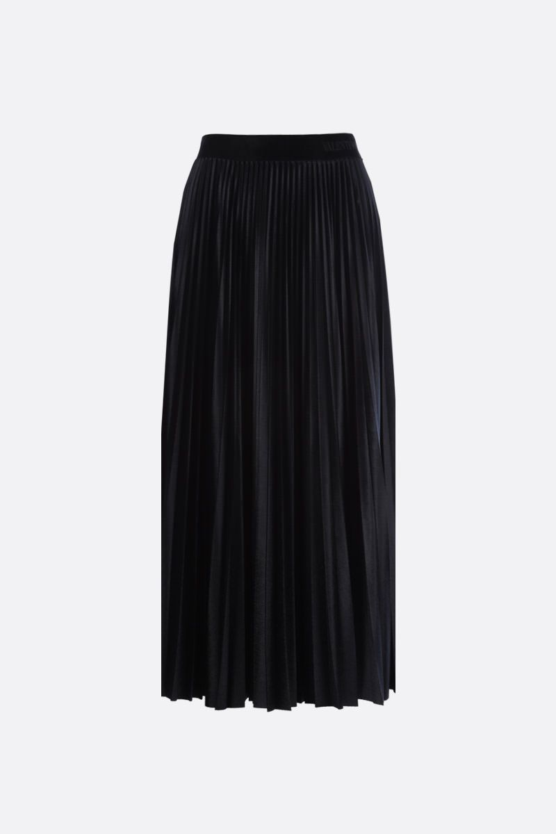VALENTINO: jersey velvet pleated skirt Color Black_1
