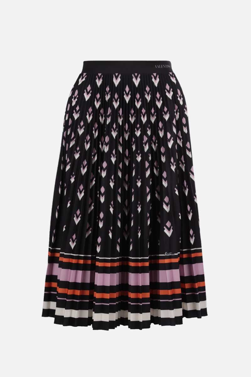 VALENTINO: Logo Remake print jersey pleated skirt Color Black_1