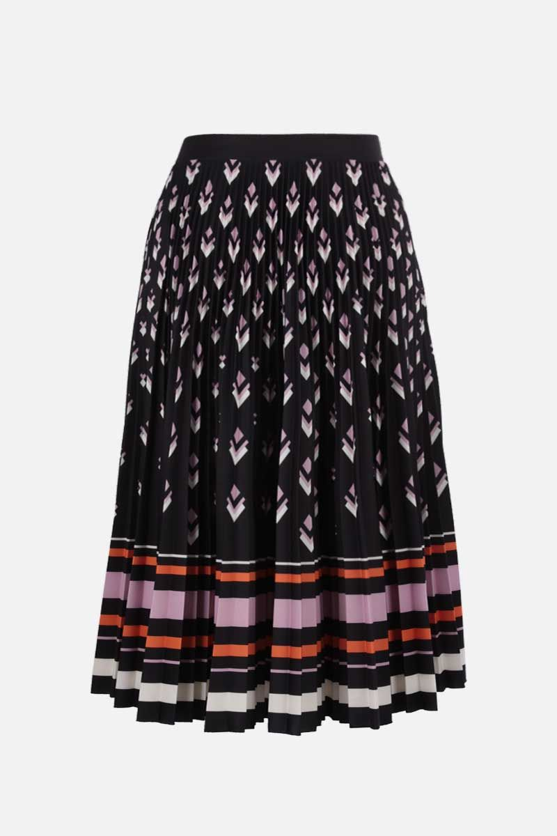 VALENTINO: Logo Remake print jersey pleated skirt Color Black_2