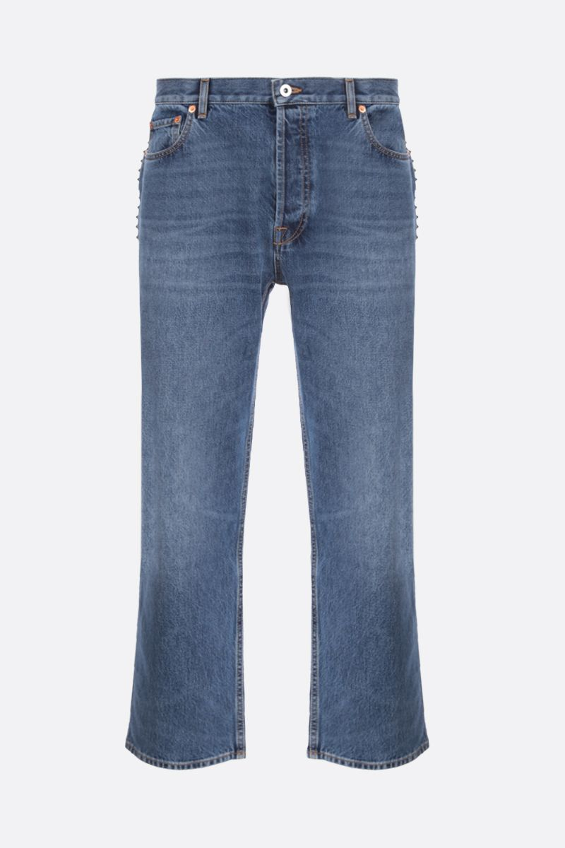 VALENTINO: signature studs-detailed straight-fit jeans Color Blue_1