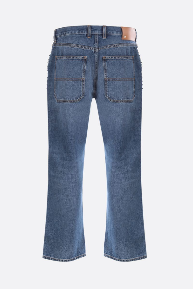 VALENTINO: signature studs-detailed straight-fit jeans Color Blue_2