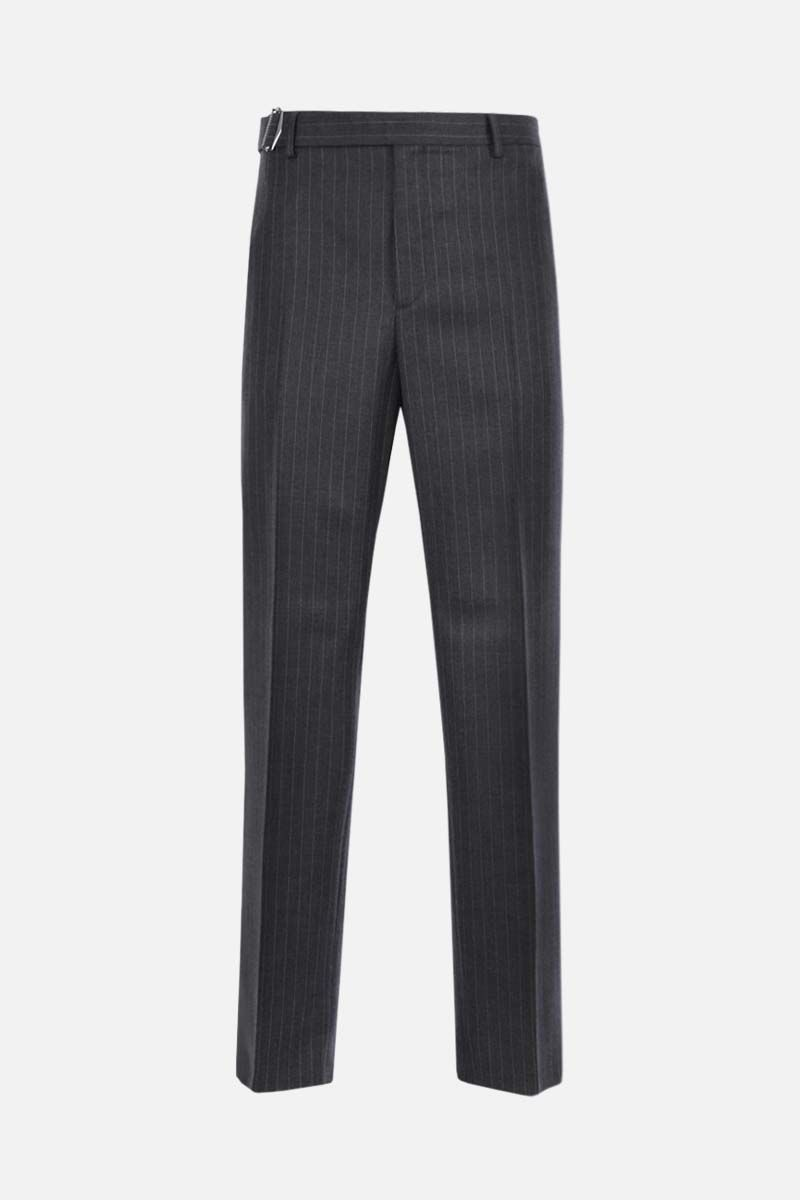 VALENTINO: belt-detailed pinstriped wool straight-fit pants Color Grey_1