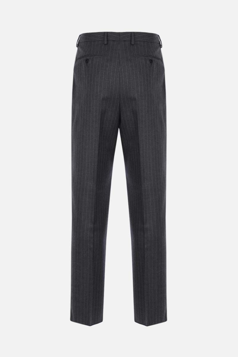 VALENTINO: belt-detailed pinstriped wool straight-fit pants Color Grey_2