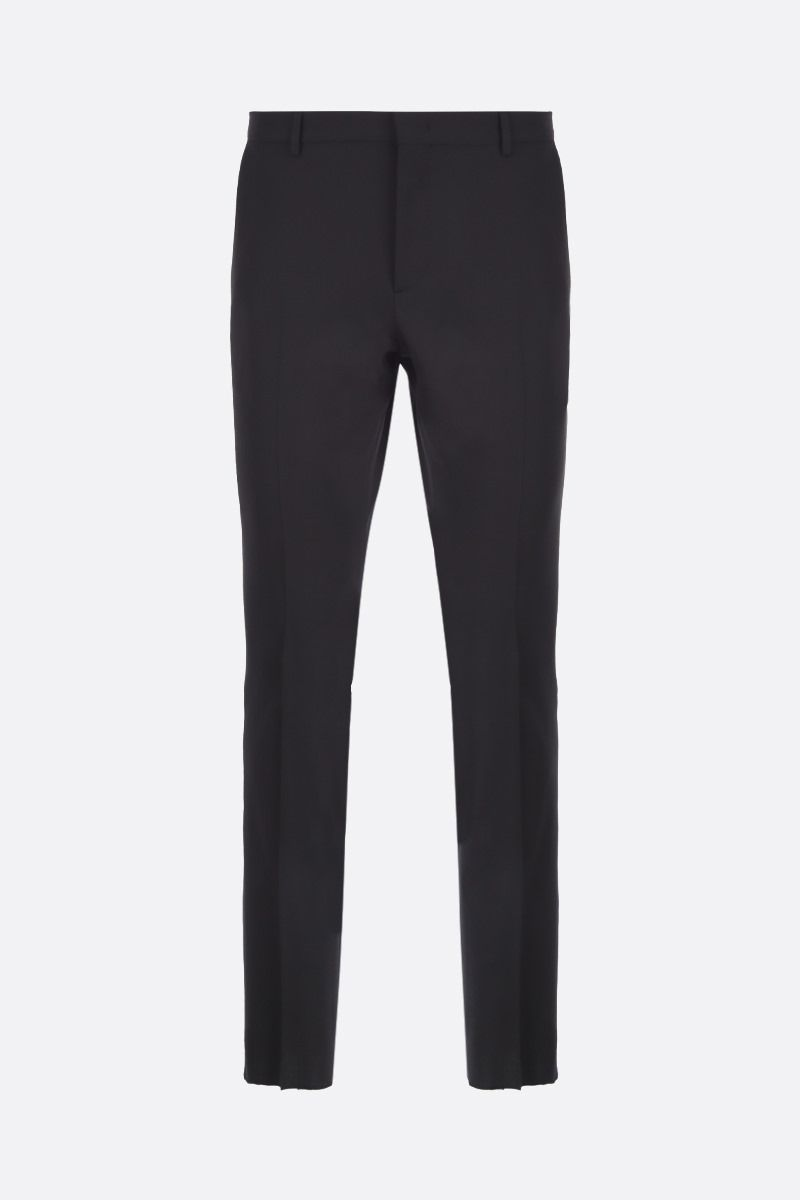 VALENTINO: Valentino-detailed wool blend slim-fit pants Color Black_1
