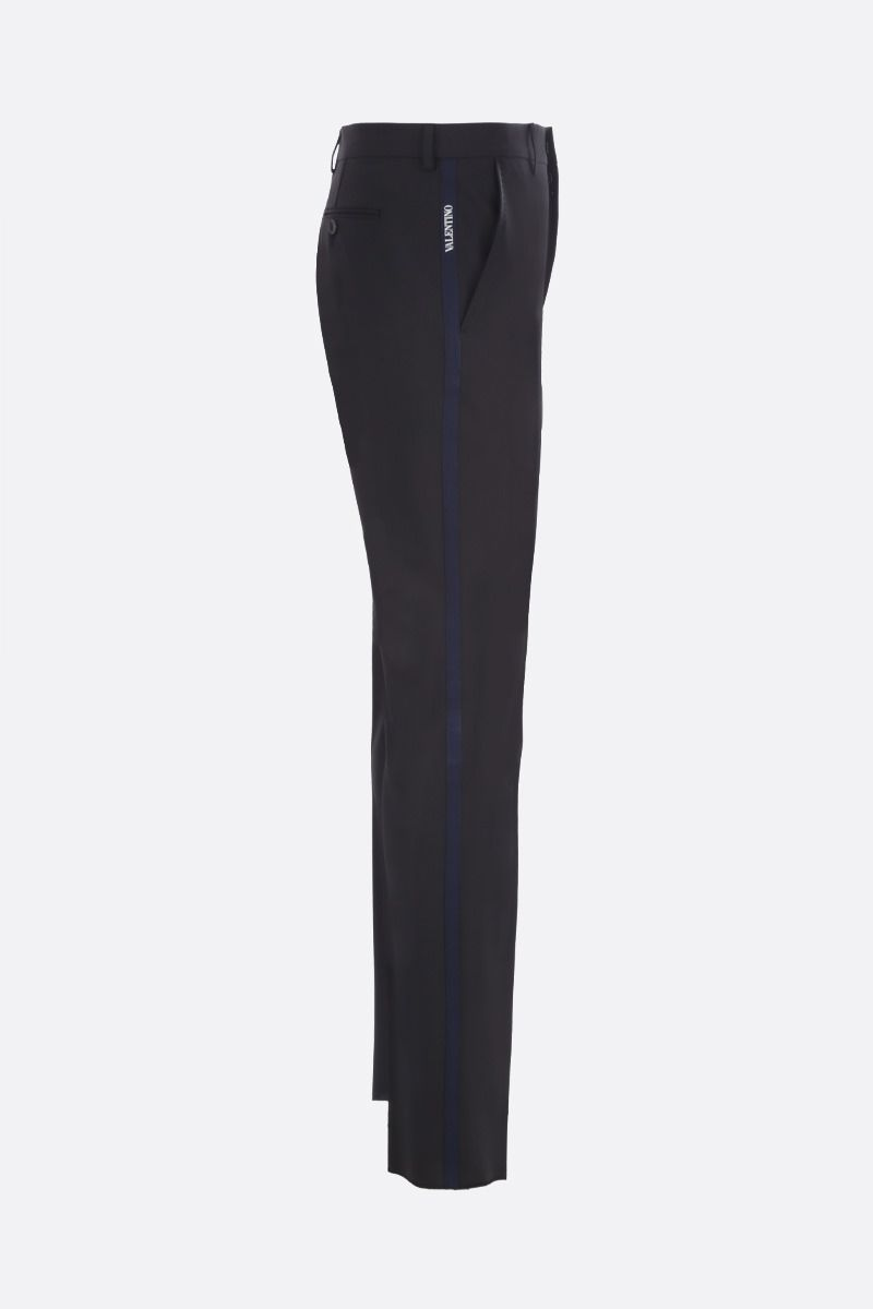 VALENTINO: Valentino-detailed wool blend slim-fit pants Color Black_2