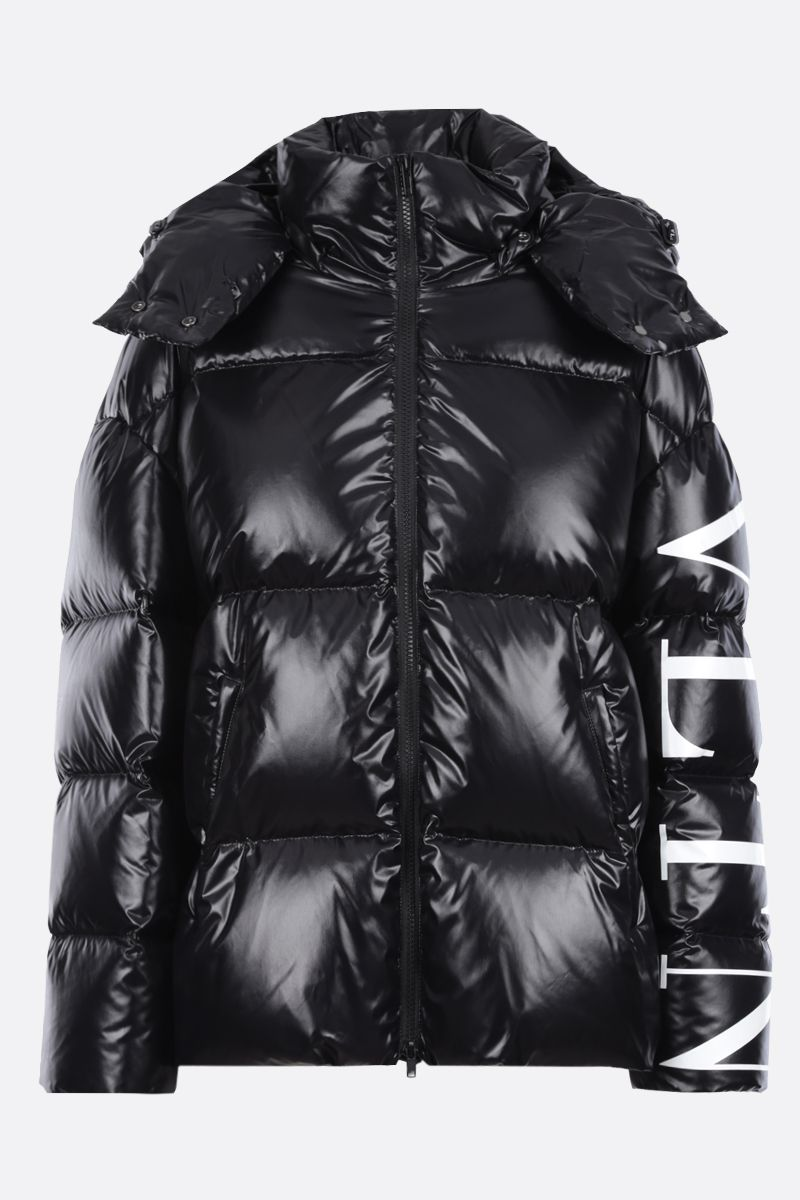 VALENTINO: VLTN shiny nylon down jacket Color Black_1