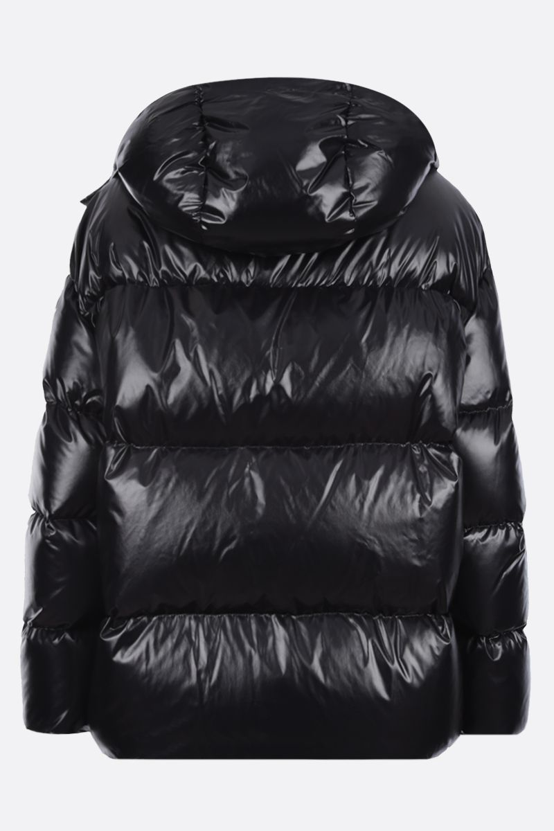 VALENTINO: VLTN shiny nylon down jacket Color Black_2