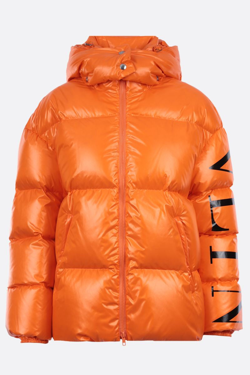 VALENTINO: VLTN shiny nylon down jacket Color Orange_1