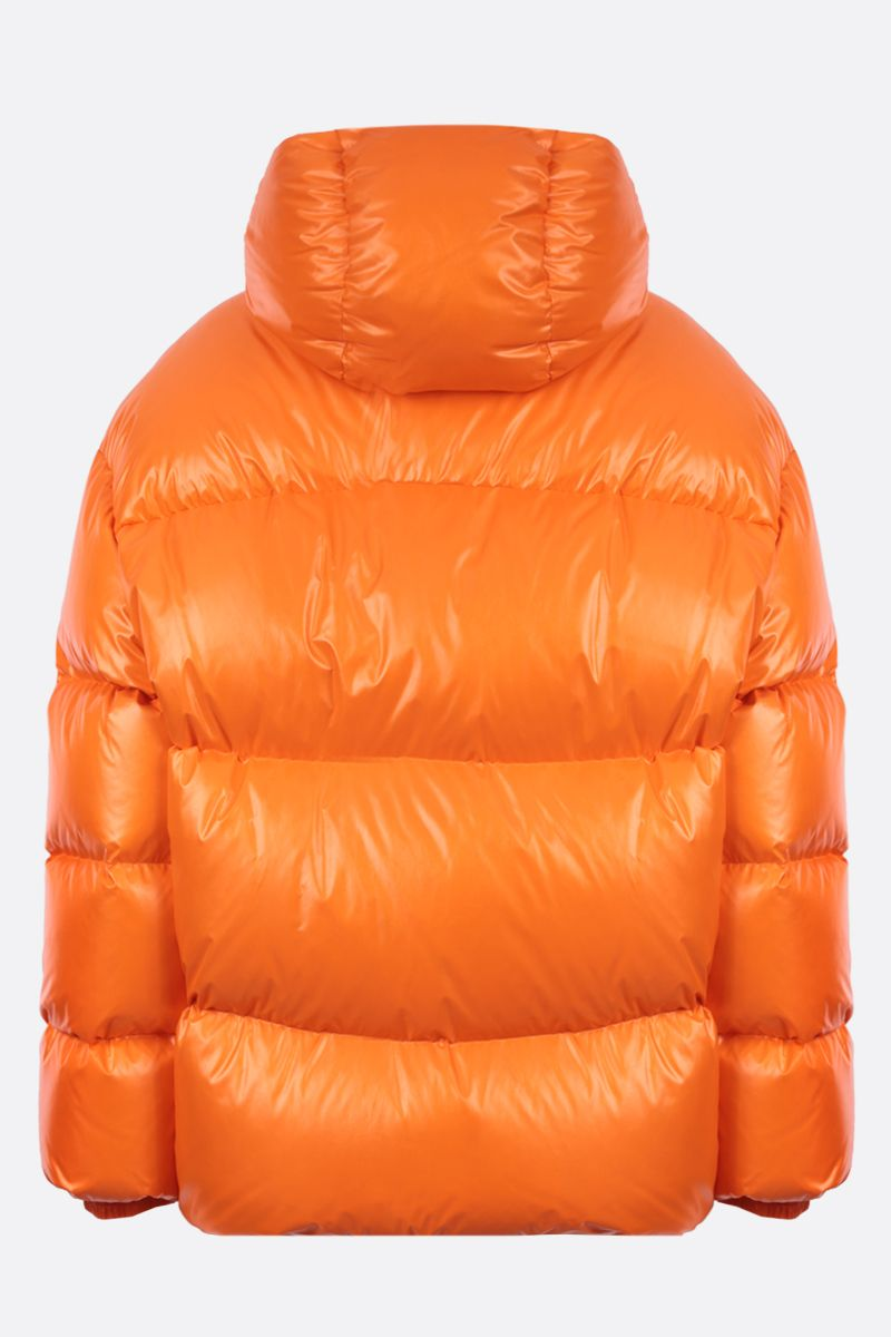 VALENTINO: VLTN shiny nylon down jacket Color Orange_2