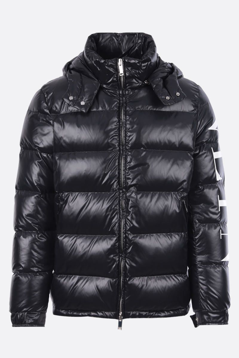 VALENTINO: VLTN print shiny nylon down jacket Color Black_1