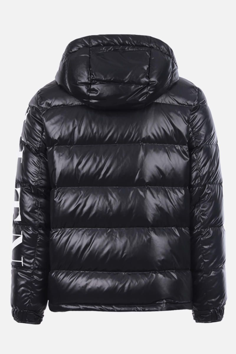 VALENTINO: VLTN print shiny nylon down jacket Color Black_2