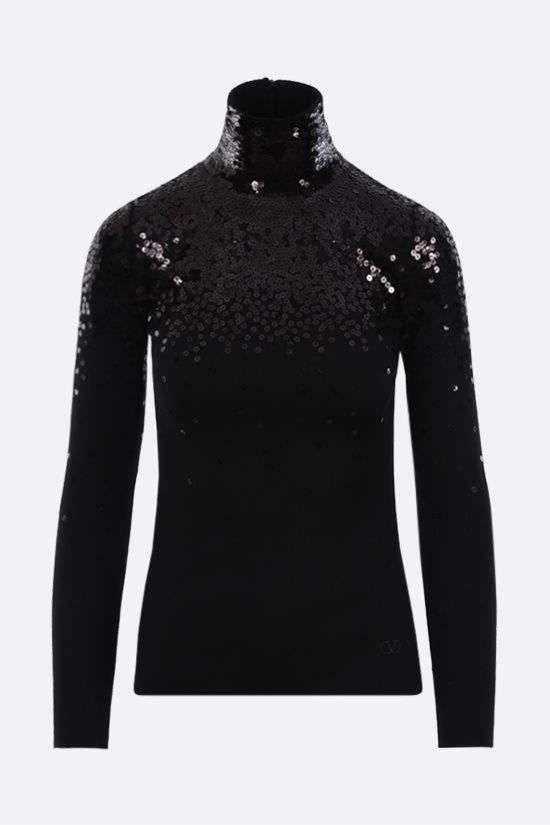 VALENTINO: sequinned wool turtleneck Color Black_1