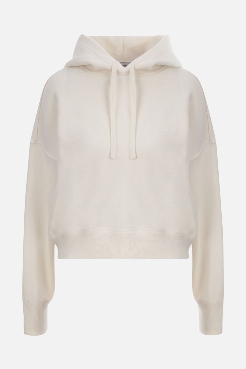 VALENTINO: VLOGO wool cotton blend cropped hooded pullover Color White_1