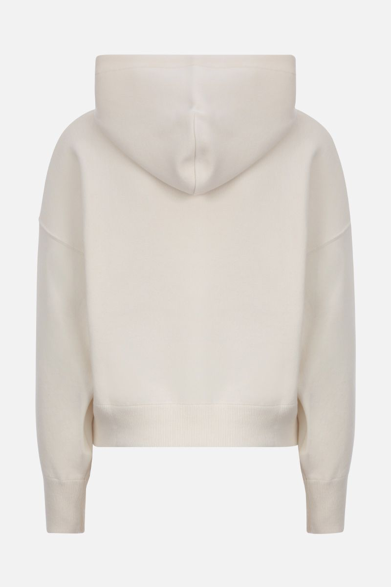 VALENTINO: VLOGO wool cotton blend cropped hooded pullover Color White_2