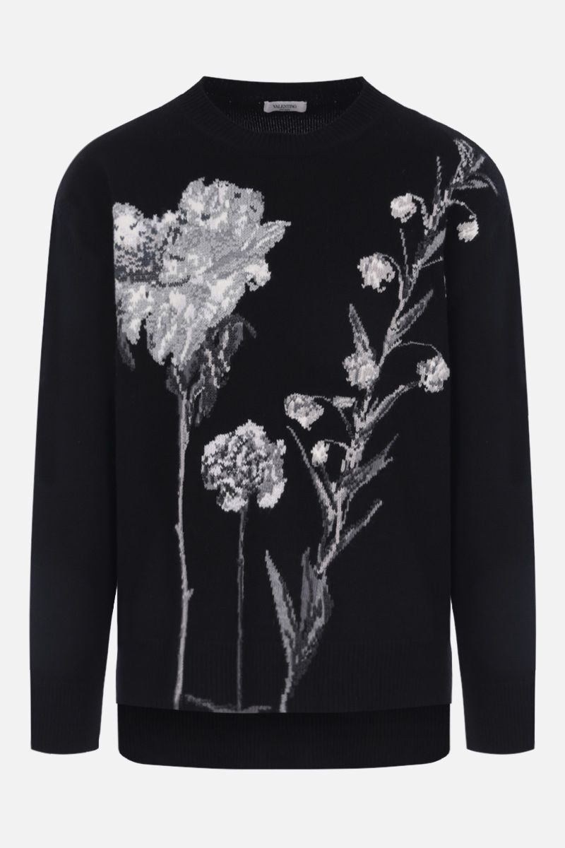 VALENTINO: Flowesity intarsia wool cashmere pullover Color Black_1