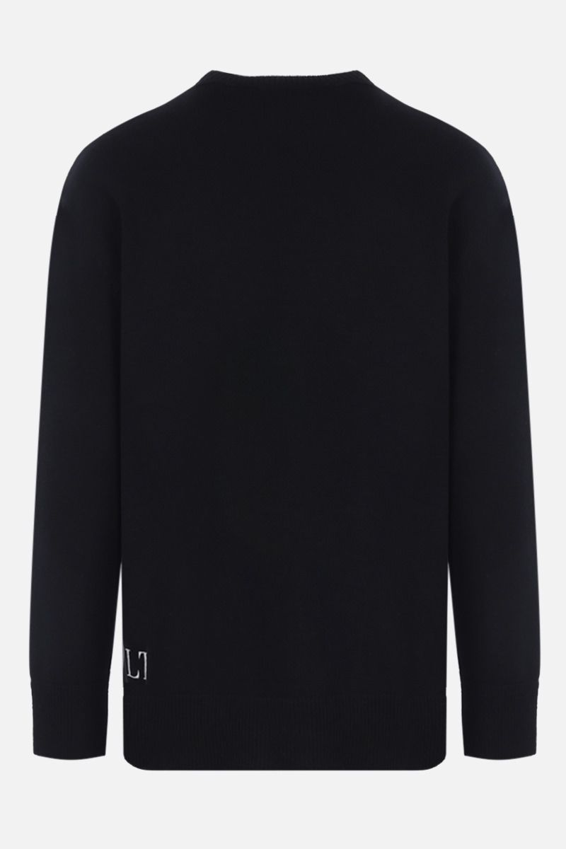 VALENTINO: Flowesity intarsia wool cashmere pullover Color Black_2