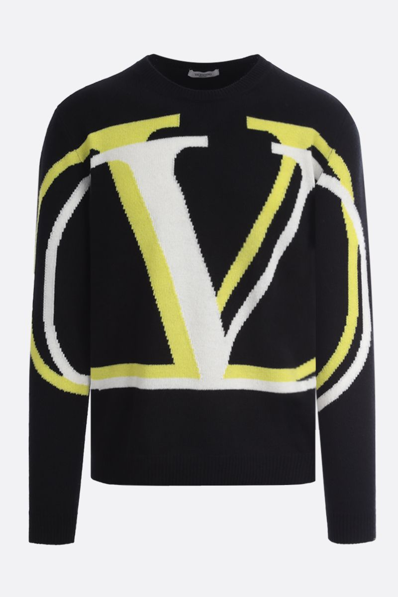 VALENTINO: VLOGO Shadow wool cashmere blend pullover Color Black_1