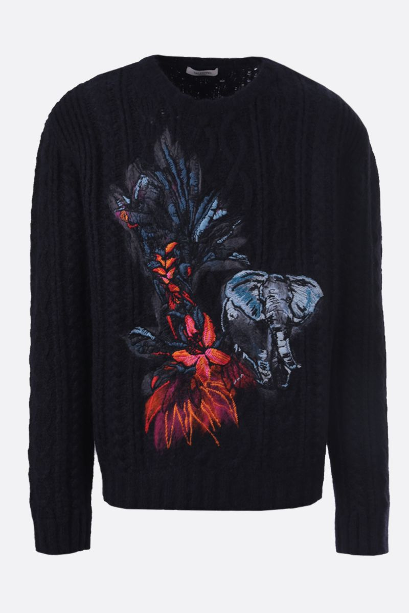 VALENTINO: pullover in misto alpaca ricamo Mural Jungle Colore Multicolore_1