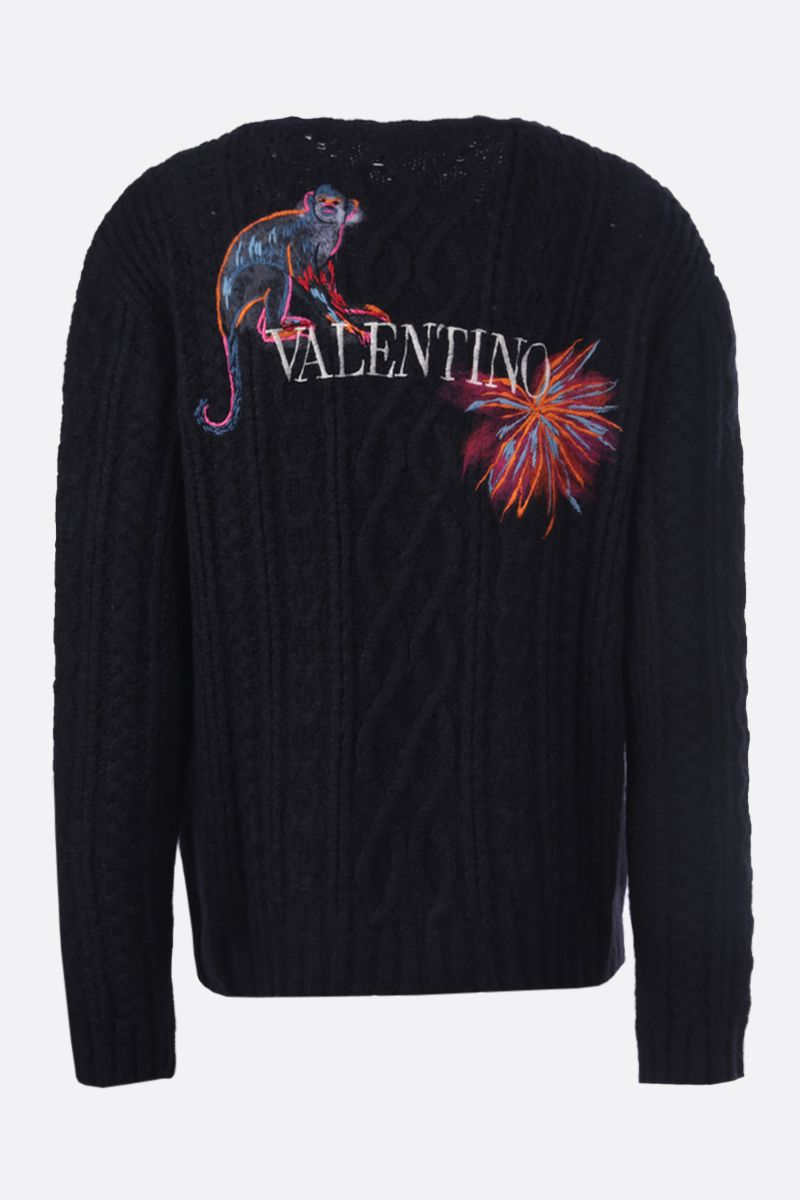 VALENTINO: pullover in misto alpaca ricamo Mural Jungle Colore Multicolore_2