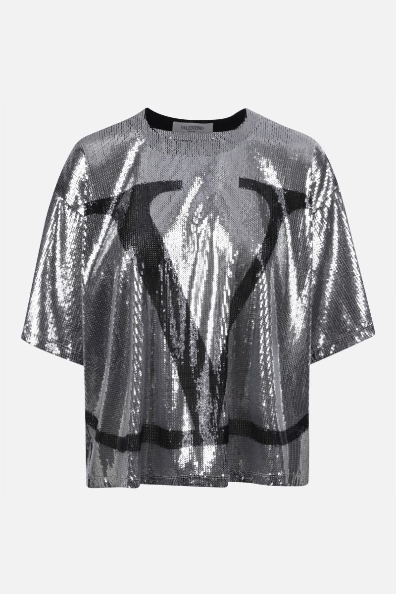 VALENTINO: VLOGO sequinned tulle t-shirt Color Silver_1