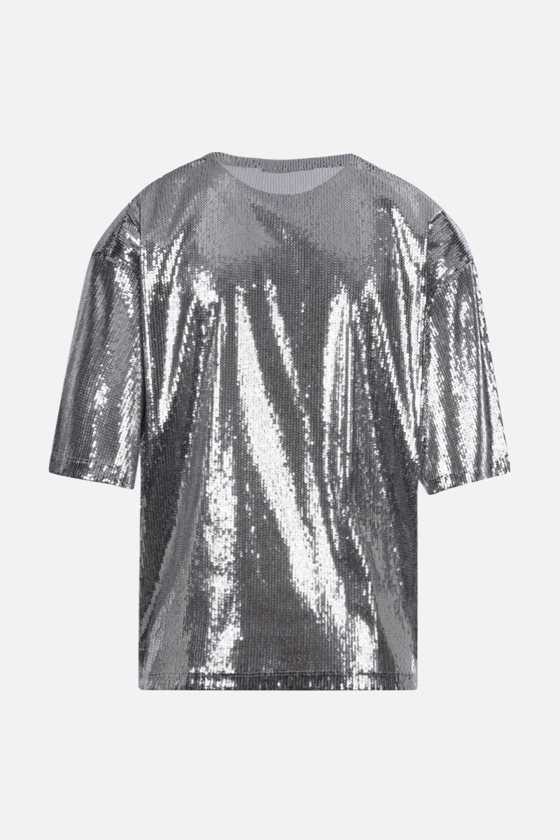 VALENTINO: VLOGO sequinned tulle t-shirt Color Silver_2