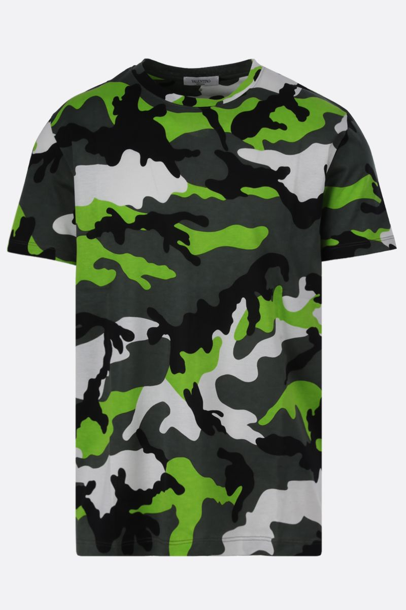 VALENTINO: camouflage print cotton t-shirt Color Black_1