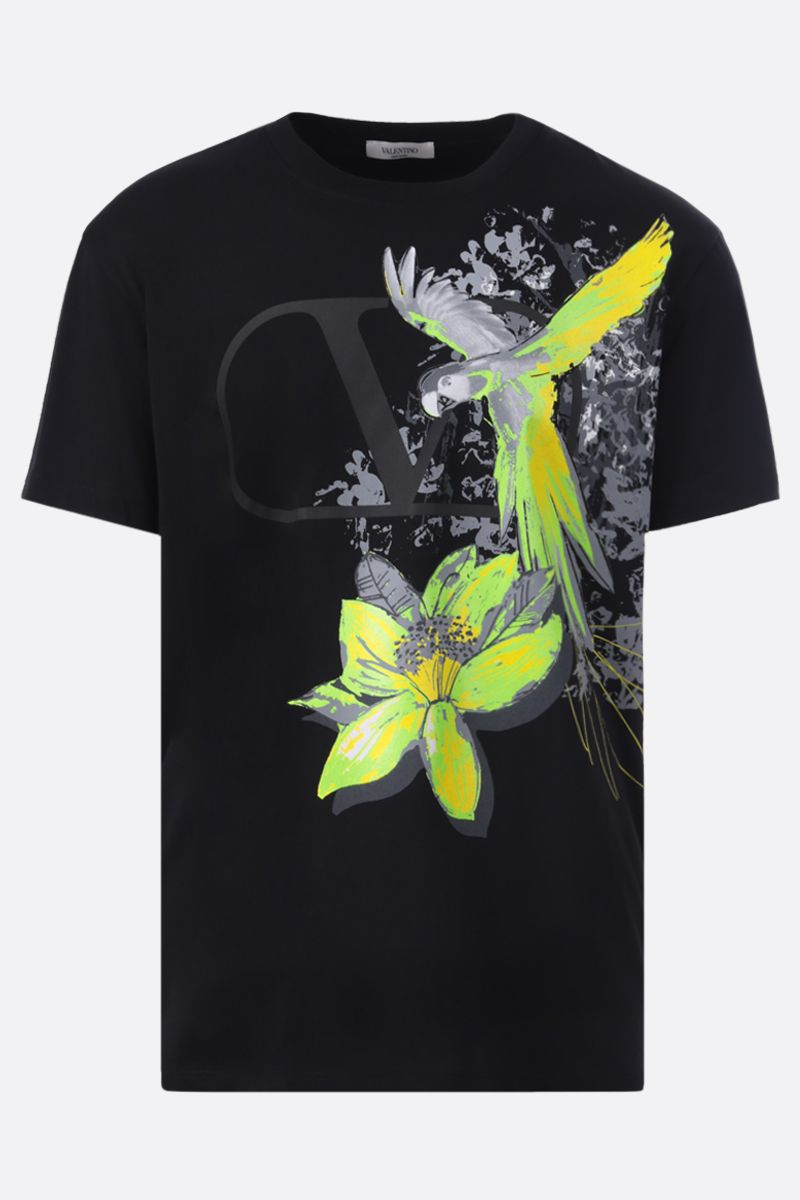 VALENTINO: t-shirt in cotone stampa Mural Jungle Colore Nero_1