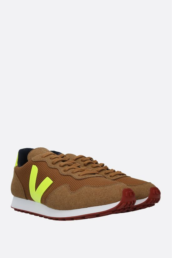 VEJA: SDU mesh and faux suede sneakers Color Yellow_2