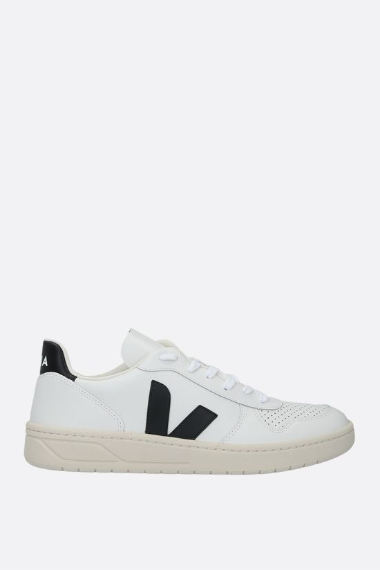 VEJA: V-10 smooth and perforated leather sneakers Color Black_1