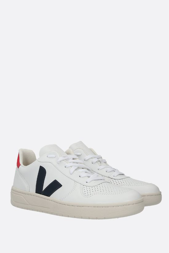 VEJA: V-10 smooth and perforated leather sneakers Color White_2