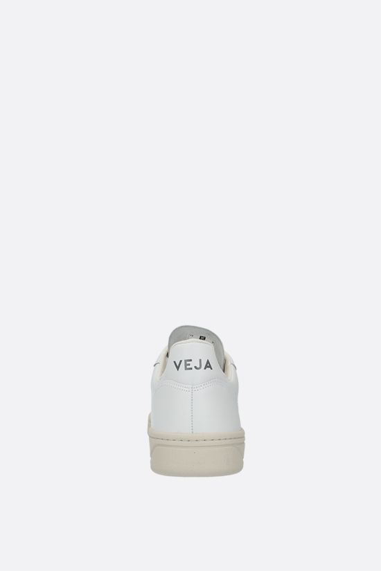 VEJA: V-10 smooth and perforated leather sneakers Color White_3