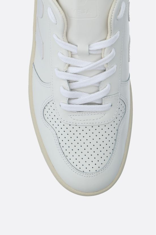 VEJA: V-10 smooth and perforated leather sneakers Color White_4