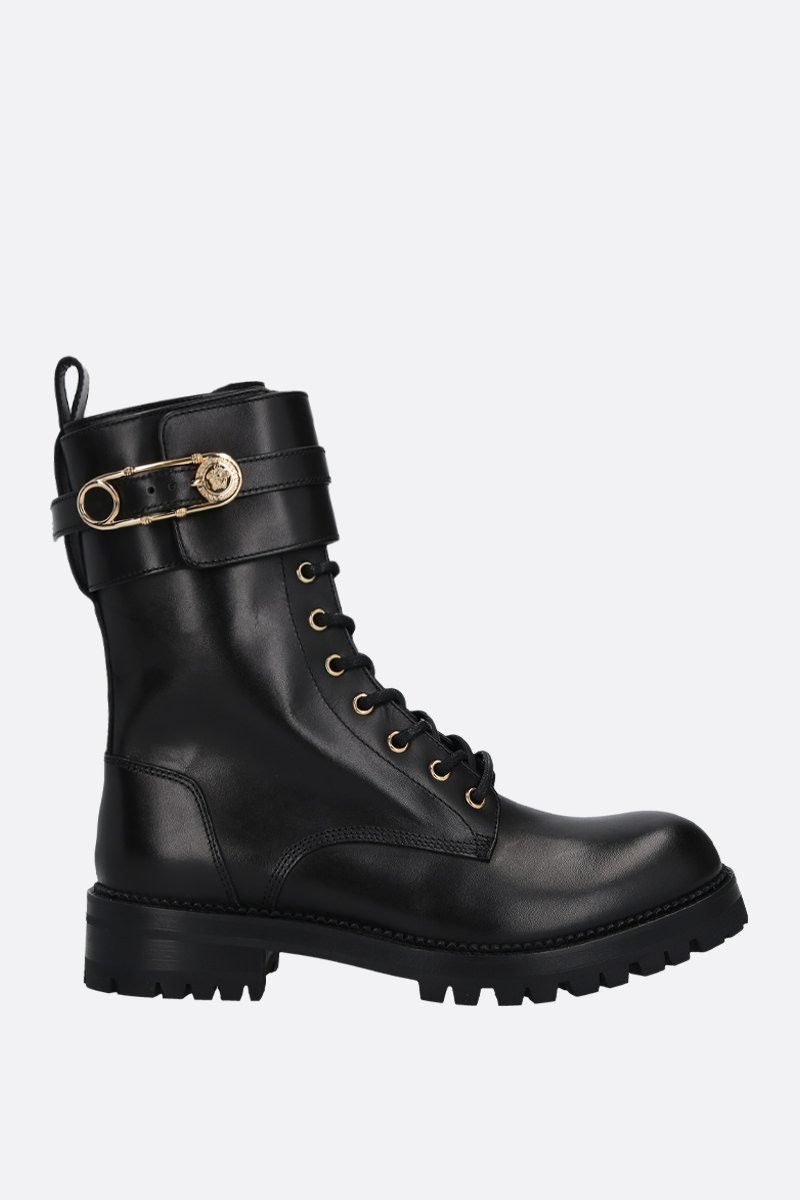 VERSACE: Safety Pin shiny leather combat boots Color Black_1
