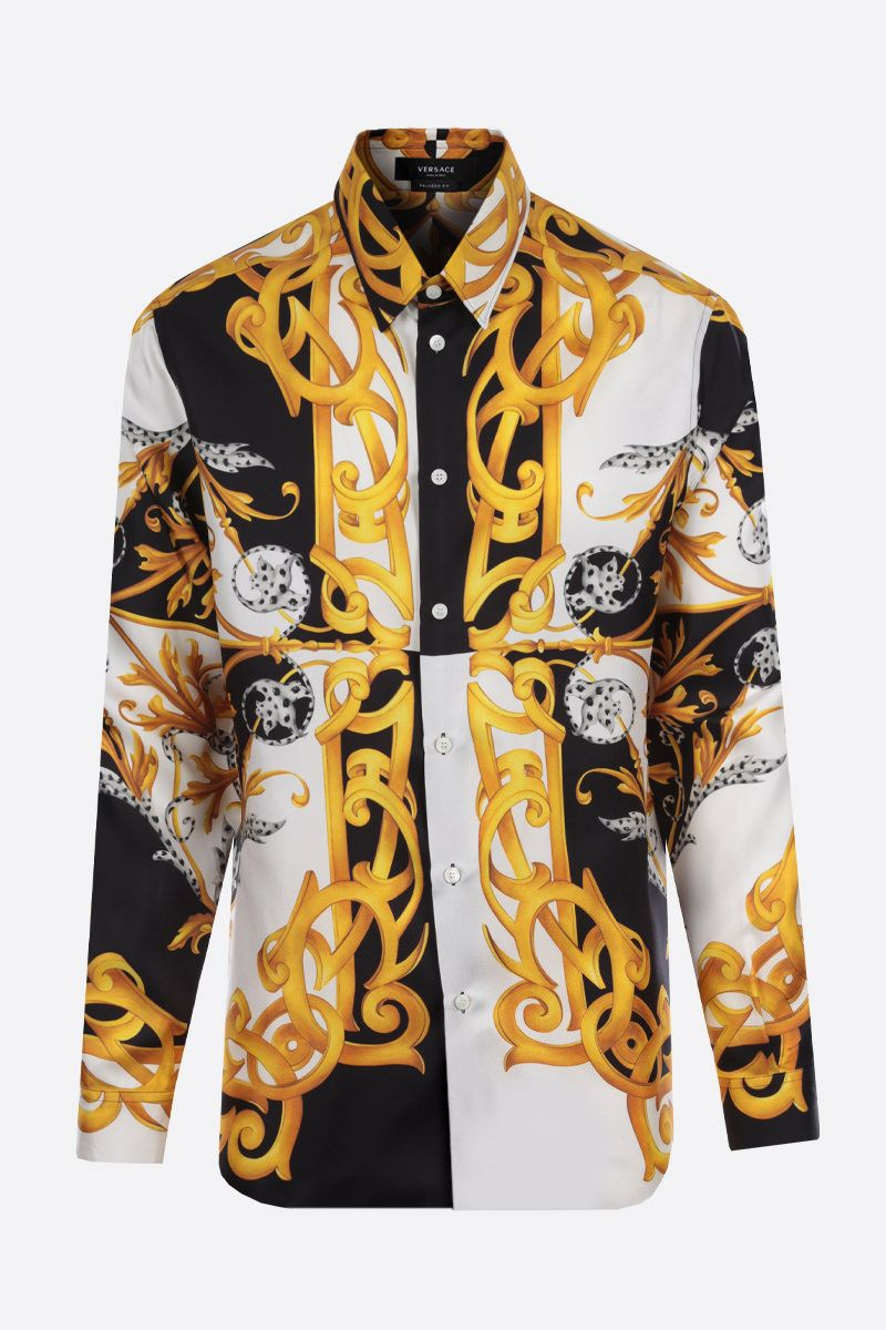 VERSACE: Barocco Acanthus print silk shirt Color White_1