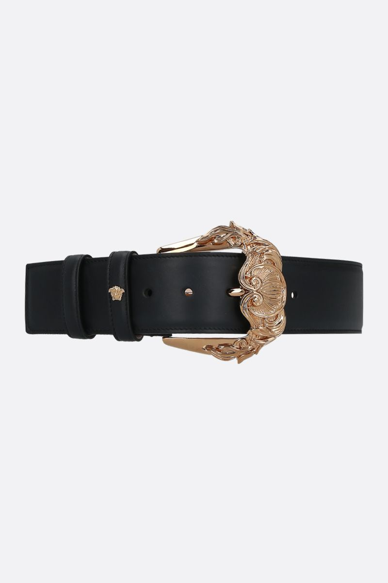 VERSACE: Baroque buckle-detailed smooth leather belt Color Black_1
