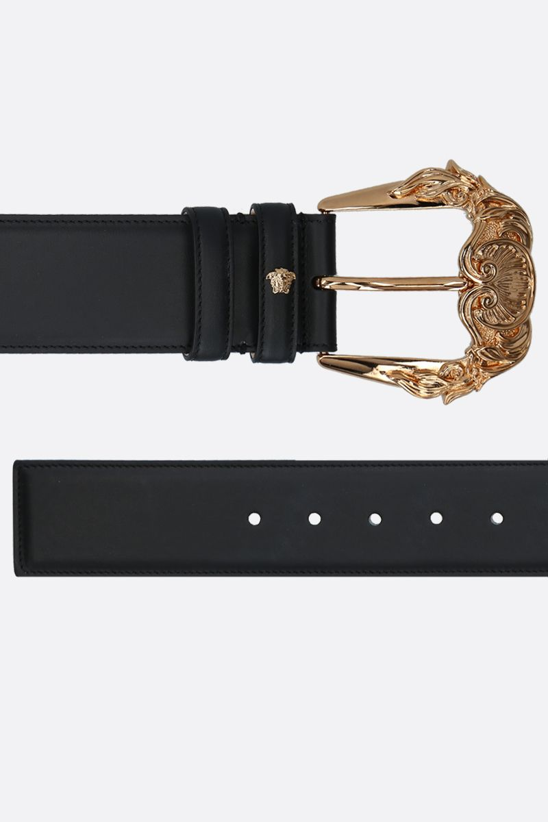 VERSACE: Baroque buckle-detailed smooth leather belt Color Black_2