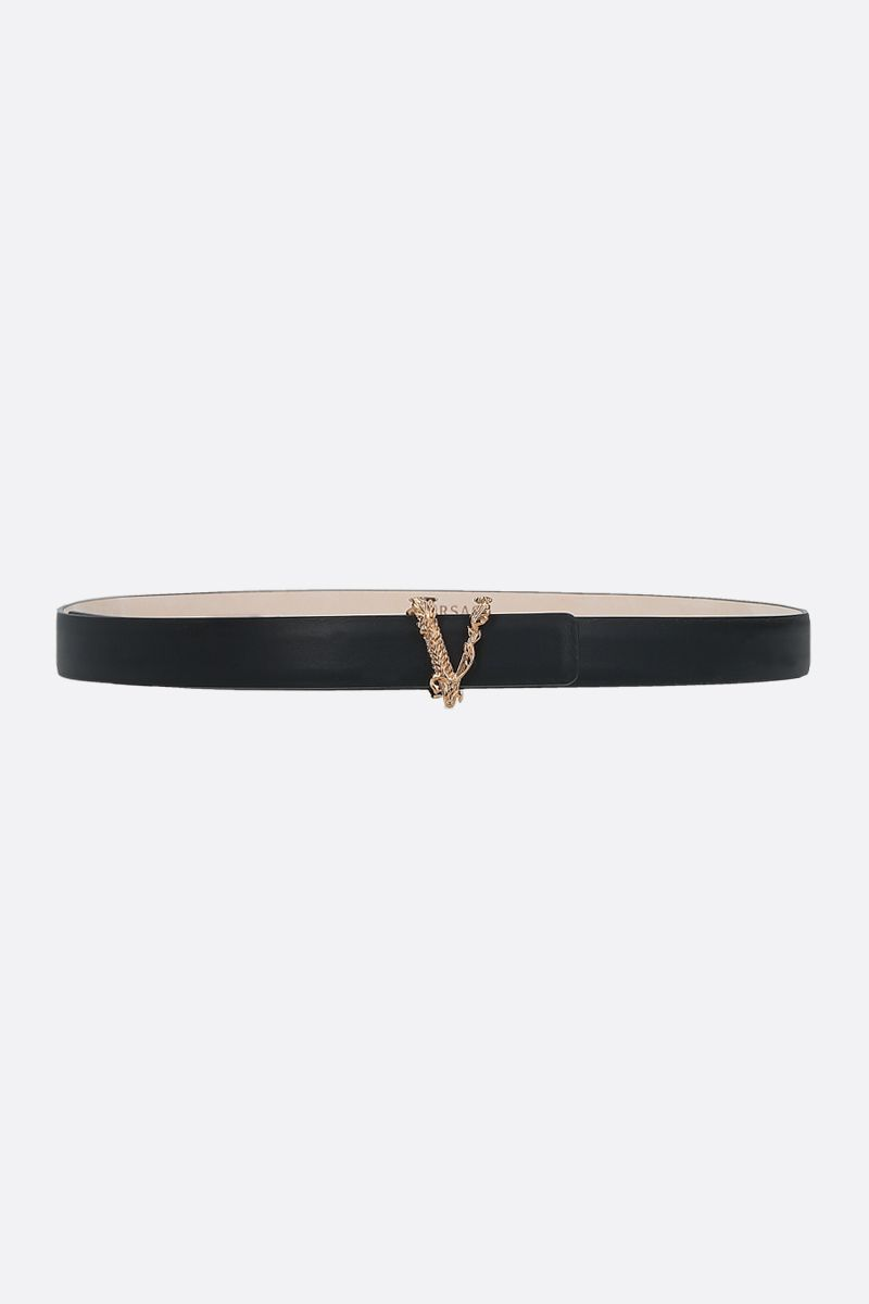 VERSACE: Virtus smooth leather thin belt Color Black_1