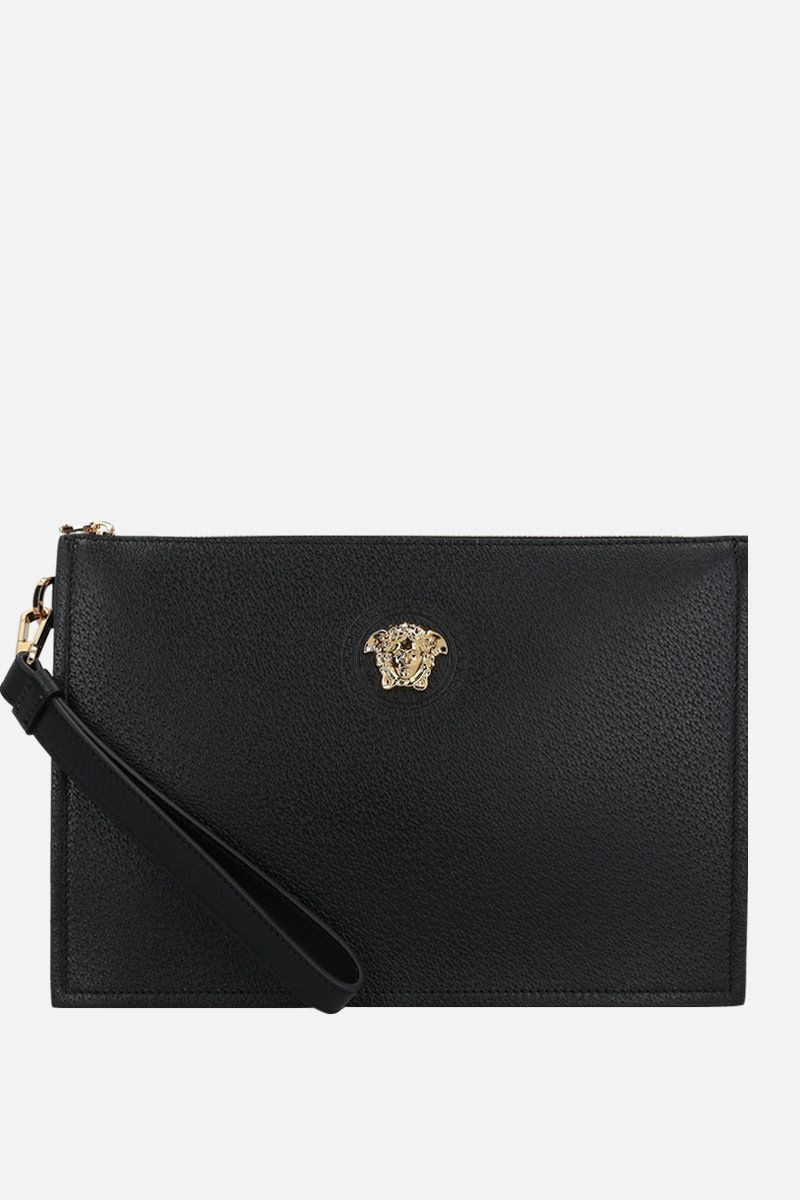 VERSACE: Medusa-detailed grainy leather clutch Color Black_1
