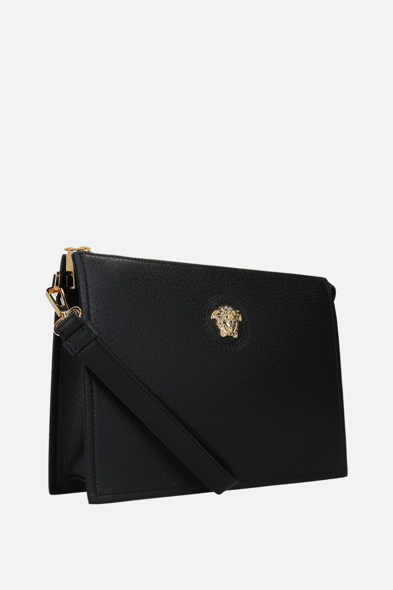 VERSACE: Medusa-detailed grainy leather clutch Color Black_2