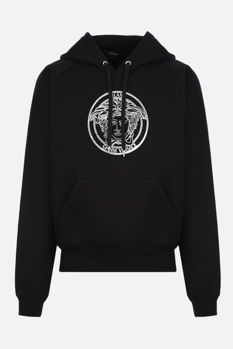 VERSACE: Medusa embroidered oversize cotton hoodie Color Black_1