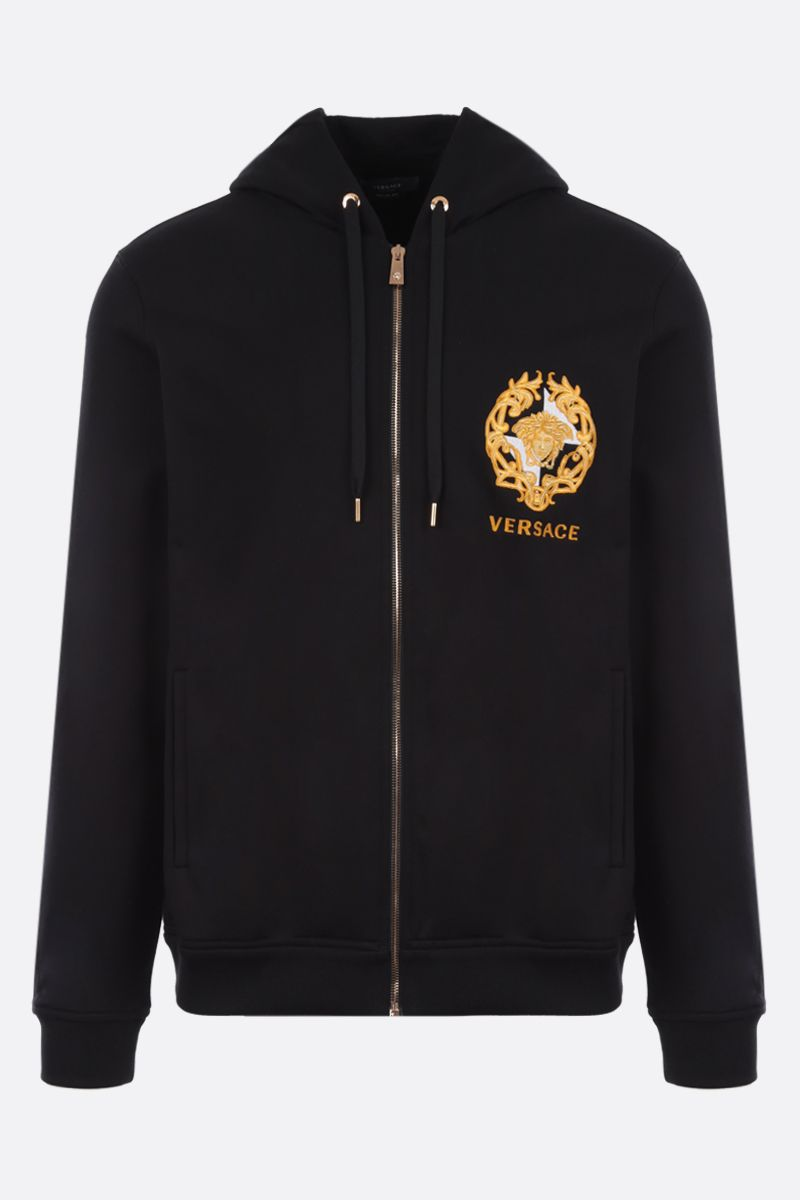 VERSACE: Medusa crest embroidered cotton full-zip hoodie Color Black_1