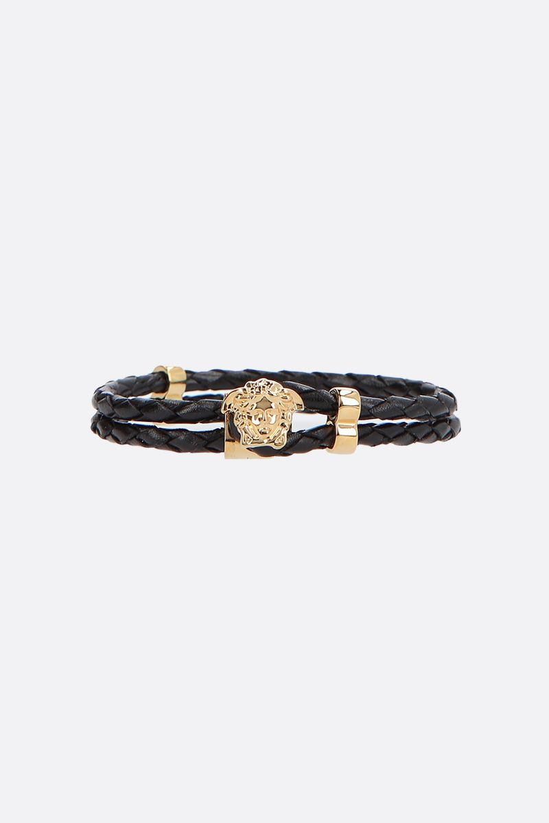 VERSACE: Medusa woven leather bracelet Color Black_1