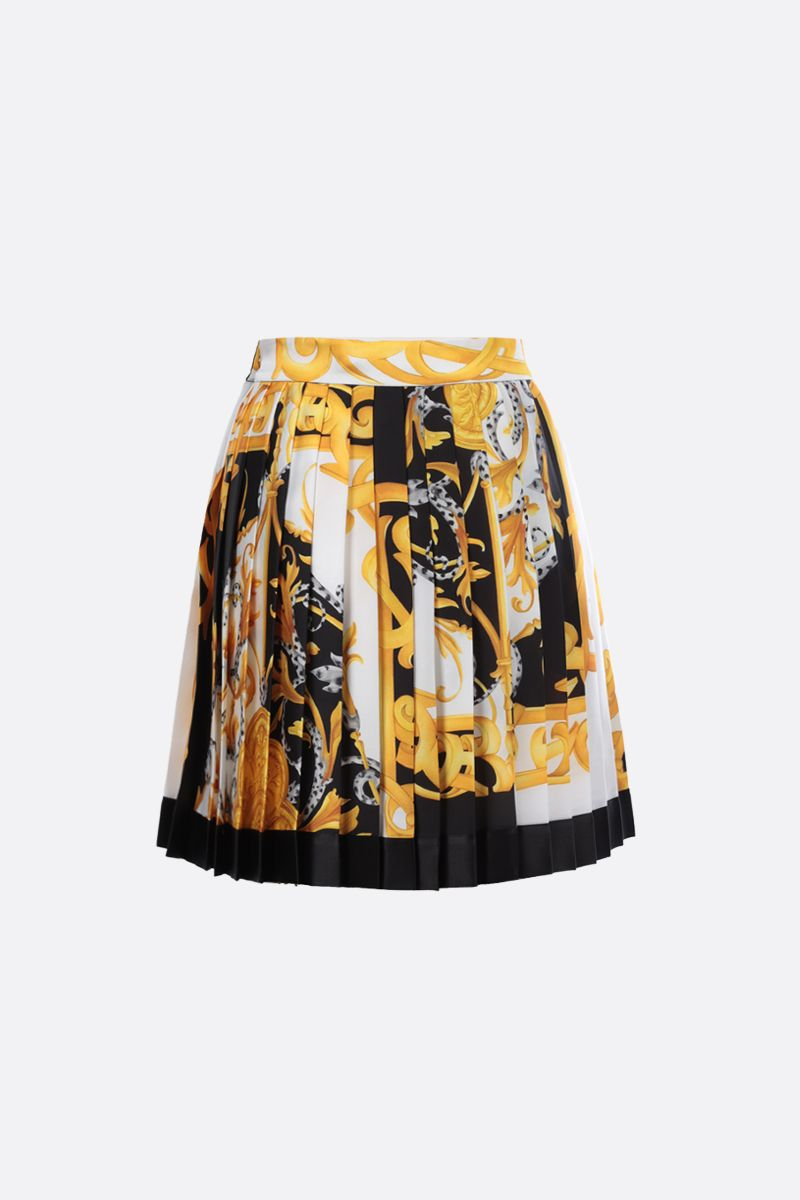 VERSACE: Barocco Acanthus print silk pleated miniskirt Color White_2