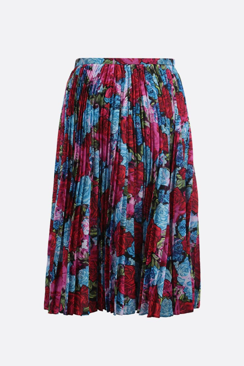 VERSACE: Tie-Dye Roses print twill pleated skirt Color Red_2