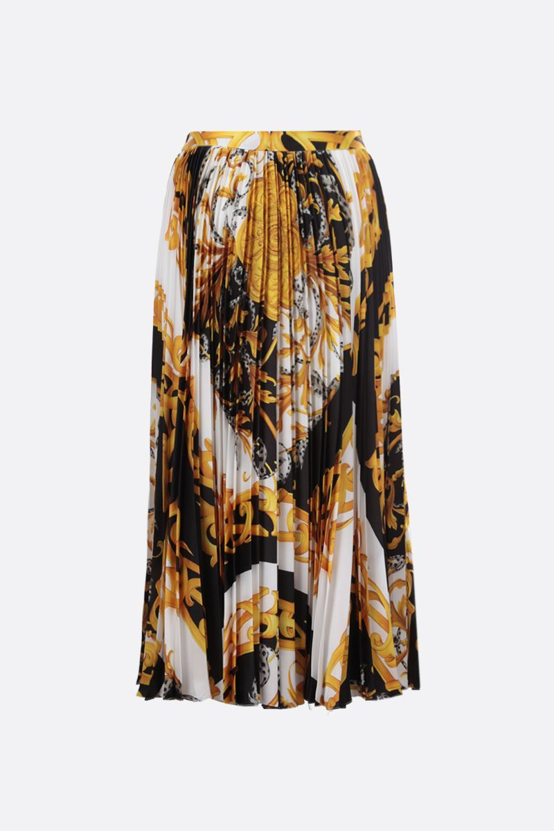 VERSACE: Barocco Acanthus print twill pleated skirt Color Multicolor_1