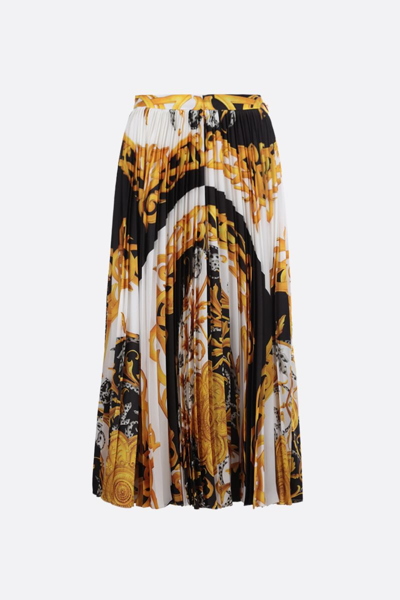 VERSACE: Barocco Acanthus print twill pleated skirt Color Multicolor_2