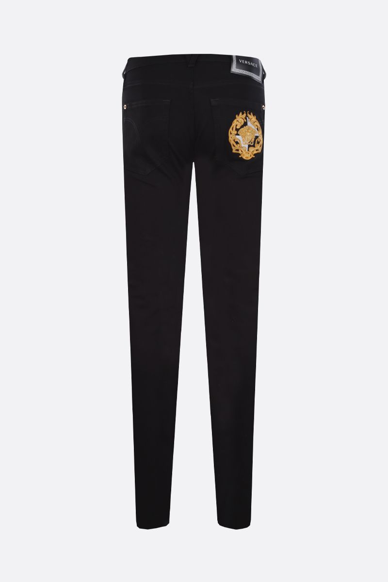 VERSACE: Medusa crest slim-fit jeans Color Black_2
