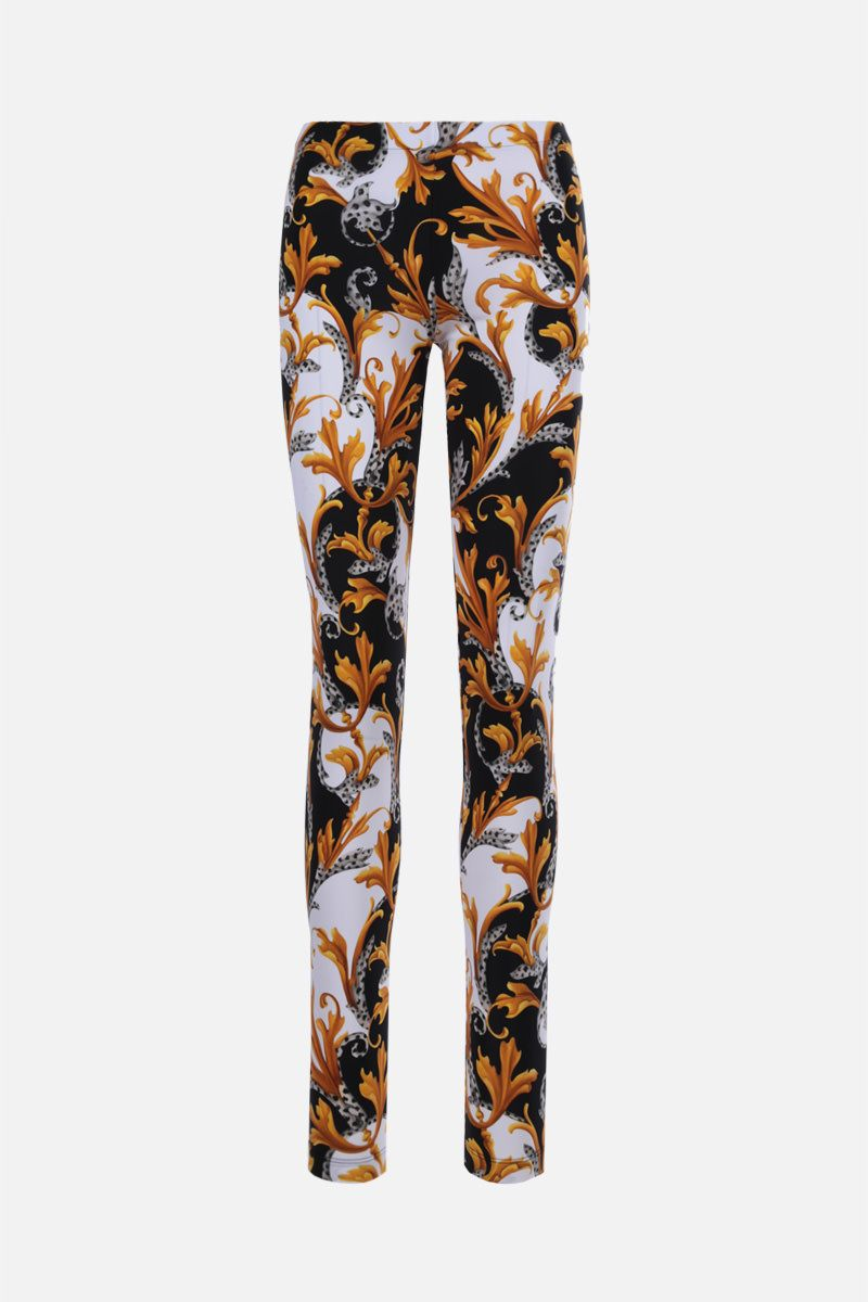 VERSACE: Barocco Acanthus print lycra leggings Color White_1