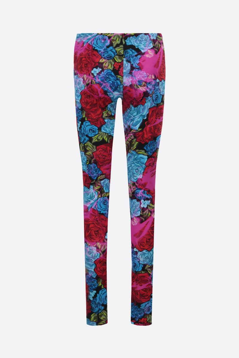 VERSACE: Tie-Dye Roses print lycra leggings Color Red_2