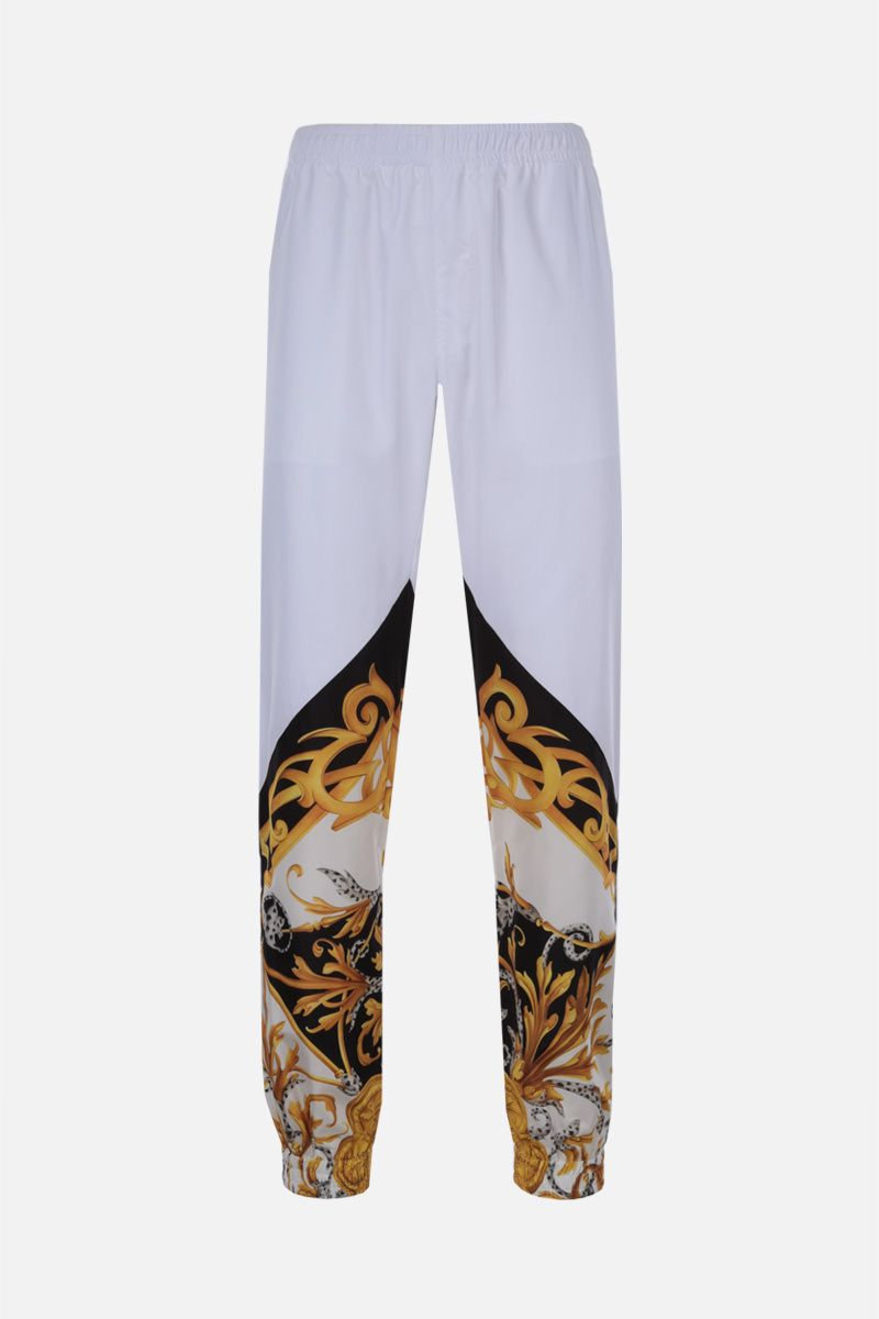 VERSACE: Barocco Acanthus print nylon joggers Color White_1